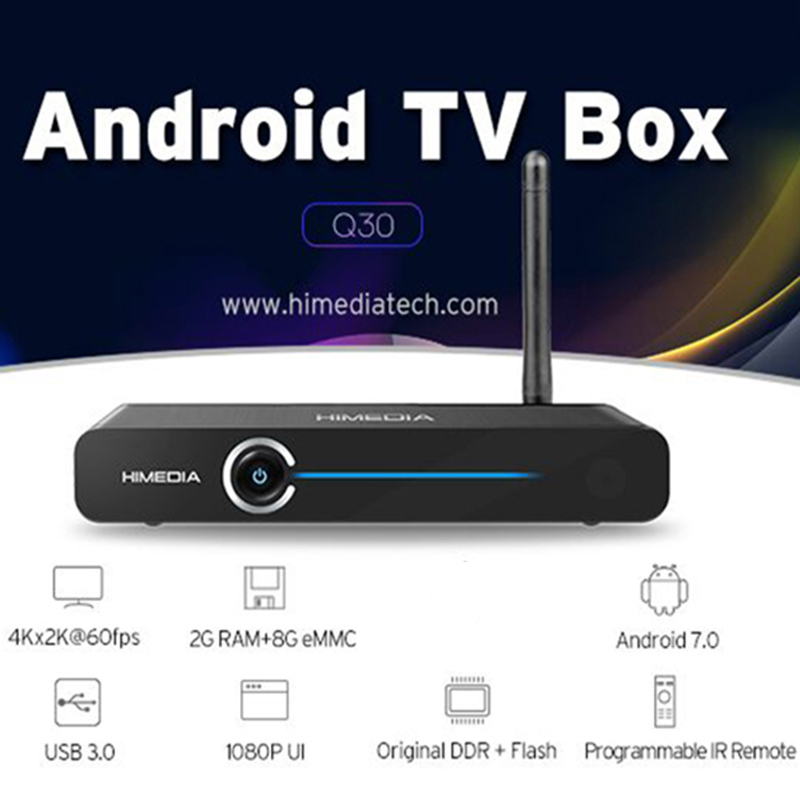 5 Pcs/lot Himedia Q30 4K 2G 8G Smart Android 7.1 TV Box Hisilicon HI37980 V200 Quad Core Media Player Set-Top Box PK X96 H96 Pro himedia m3 quad core android tv box home tv network player 3d 4k uhd set top box free shipping