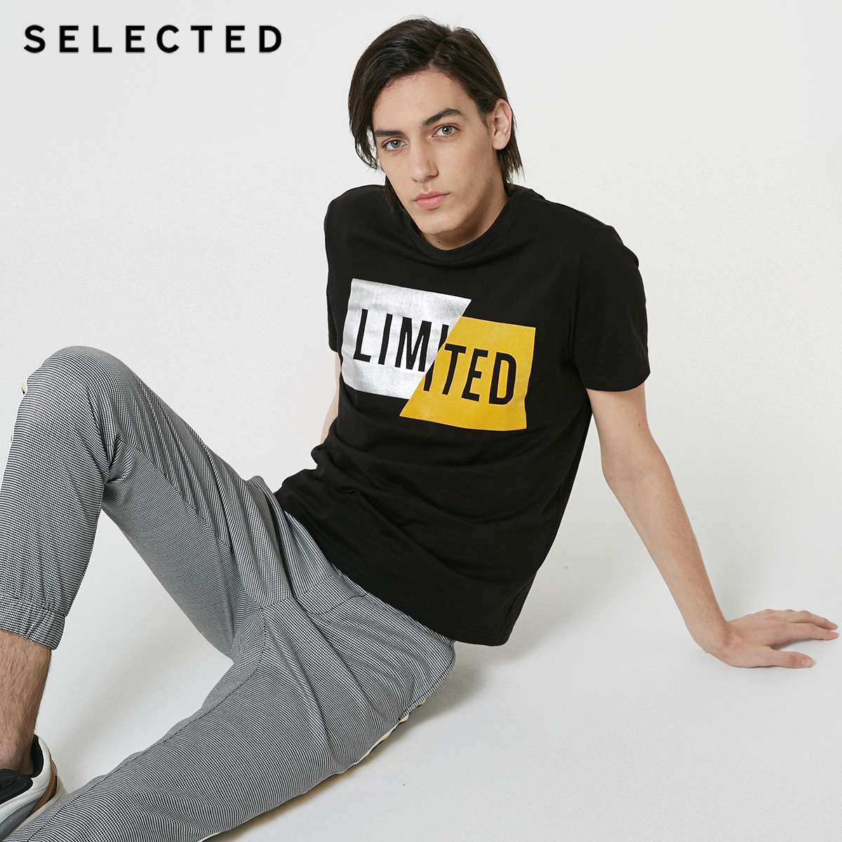 SELECTED Men's Summer 100% Cotton Flocking Print Short-sleeved T-shirt S|419101534