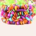 """Бесплатная доставка мода ювелирных изделий стрейч многоцветный оболочки переплетения чип браслет 7 """" 1 шт. H038"""