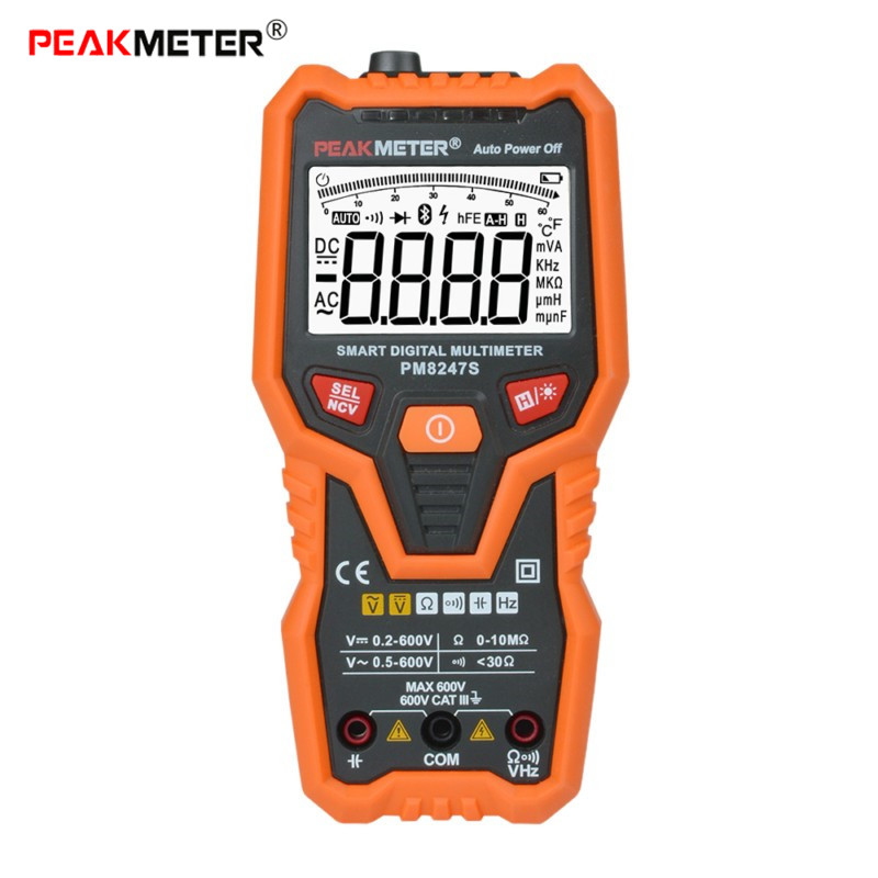 PEAKMETER PM8247S Digital LCD Multimeter Clamp Capacitance Backlight Data Hold DCV ACV DCA OHM Volt Meter Transistor Tester Tool