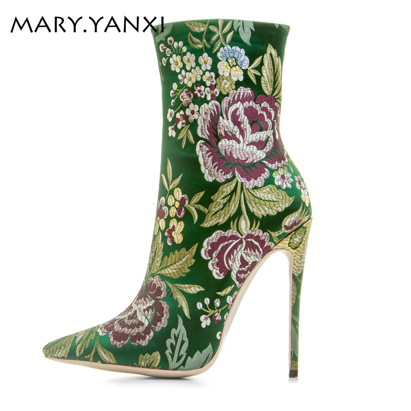 Hot sales women shoes fashion boots embroider flowers shoes 12cm high heels ankle boots pointed toe women boots big size 34-43 memunia ankle boots for women high heels shoes woman pointed toe fashion boots female party flock solid big size 34 43