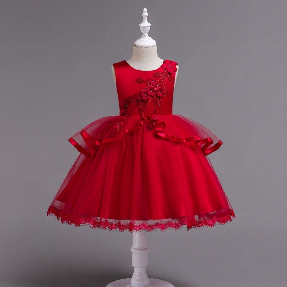 BH725Z#  Flower     Girl     Dresses   blue red Medium Big size children irregular gauze princess party prom Christmas performance   dress