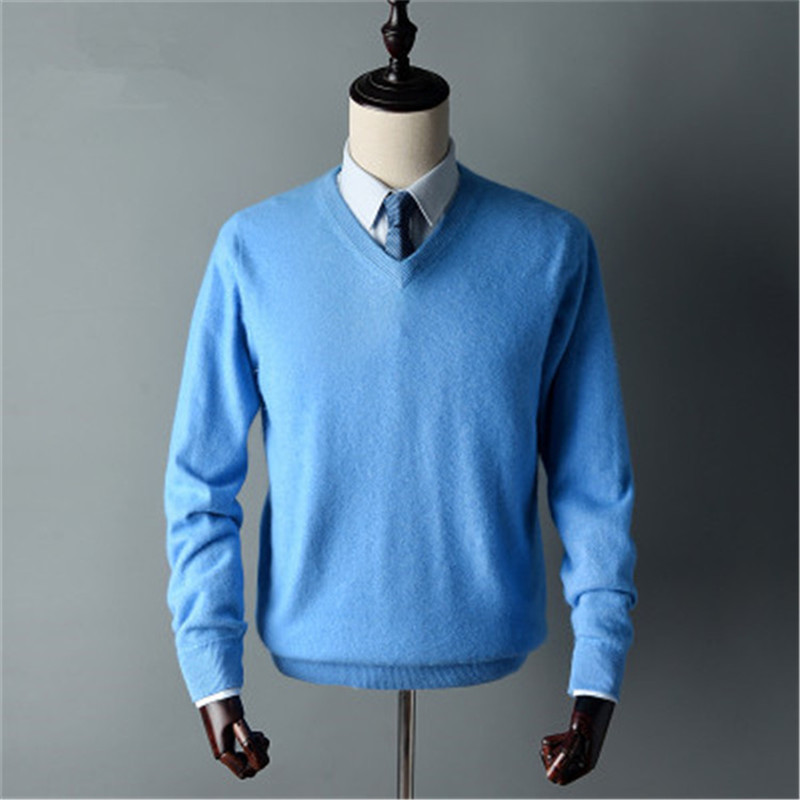Large Size Pure Goat Cashmere Thick Knit Men Smart Casual Vneck Pullover Sweater Solid Color S-3XL