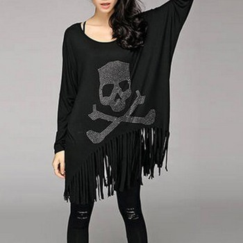 Gothic Black T-shirt Loose Casual Cotton Batwing Sleeve Skull Tassel