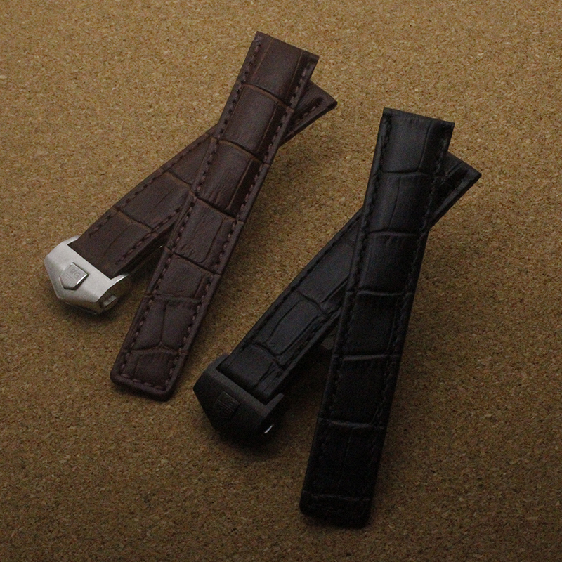1pcs 19mm 20mm 22mm New MEN Watchband Black Brown Genuine Leather Strap Silver Butterfly Deployment Clasp