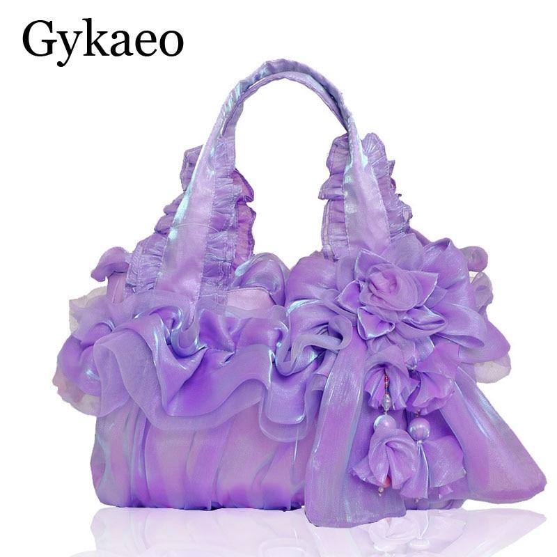 c7f79ad63 جديد اليدوية منتصف العمر المرأة حقيبة السيدات الحرير الدانتيل الأميرة  الزفاف زهرة السيدات حقائب اليد مساء حقيبة حقيبة زفاف
