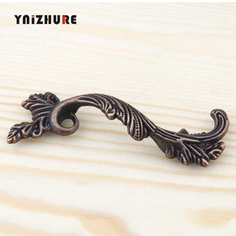 YNIZHURE Antique Furniture Handles Leaves Striped Carved Handle Drawer Door Knobs Jewelry Wood Box Bronze Cabinet Cupboard Pulls