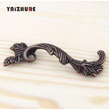 YNIZHURE Antique Furniture Handles Leaves Striped Carved Handle Drawer Door Knobs Jewelry Wood Box Bronze Cabinet Cupboard Pulls image
