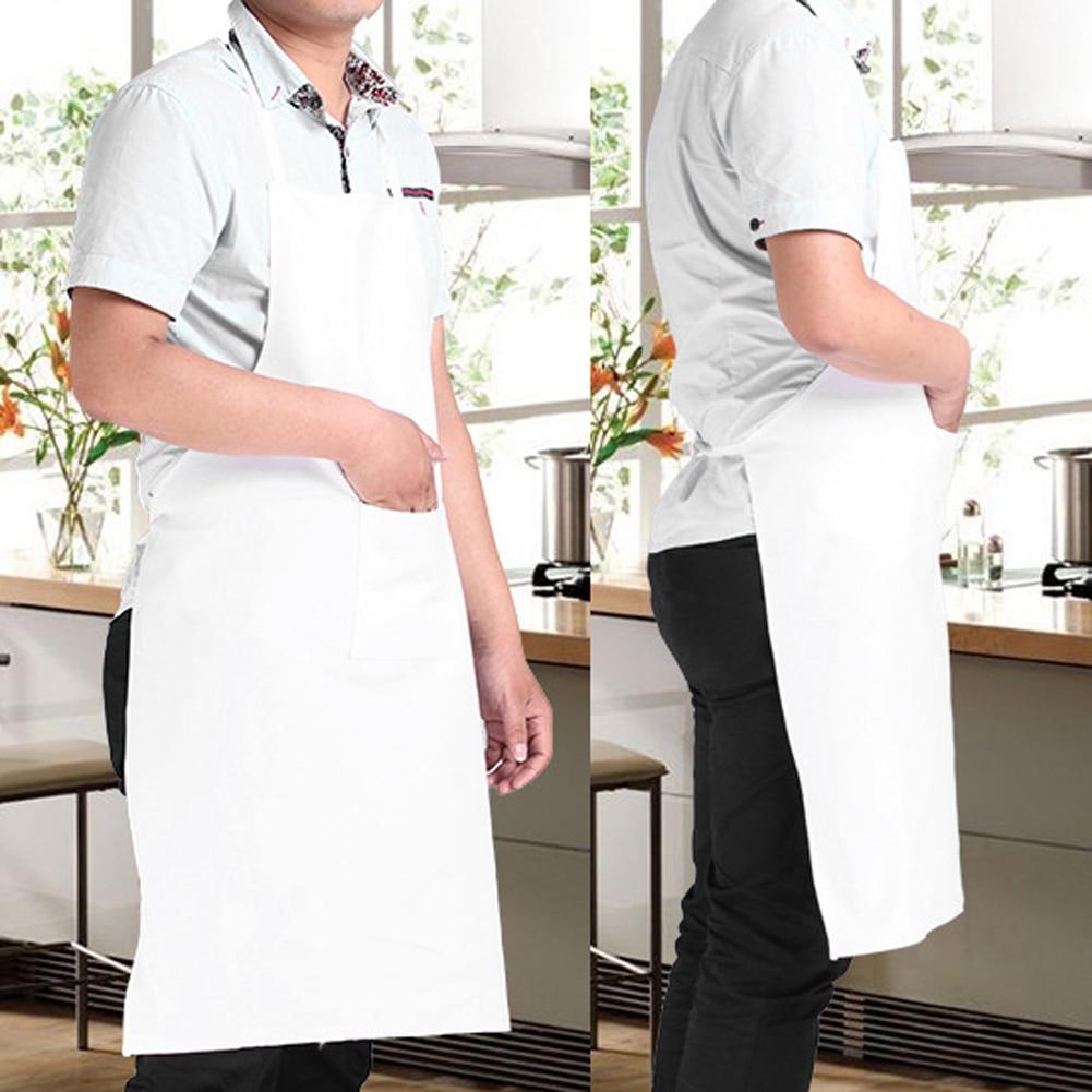 New White Universal Bib Apron With Pockets Kitchen