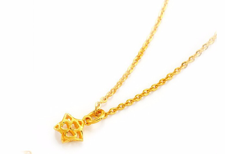 Pure 24K Solid 999 Yellow Gold Pendant / Hollow Star Pendant pure 24k yellow gold pendant 3d 999 gold fu star pendant 0 91g