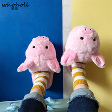WHOHOLL Winter New Style Pink Little Pig House Adult Girl Slippers Lady Warm Cotton Plush Head Silent Indoor Flor Women Shoes