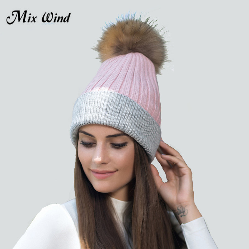 Mix Wind 2017 Hot Sale Winter Autumn Pom Pom Beanies Hat Women Knitted Wool Skullies Casual Cap Real Raccoon Fur Pompom Hats skullies hot sale candy sets color pointed hat knitting hat sets hat cap 1866951