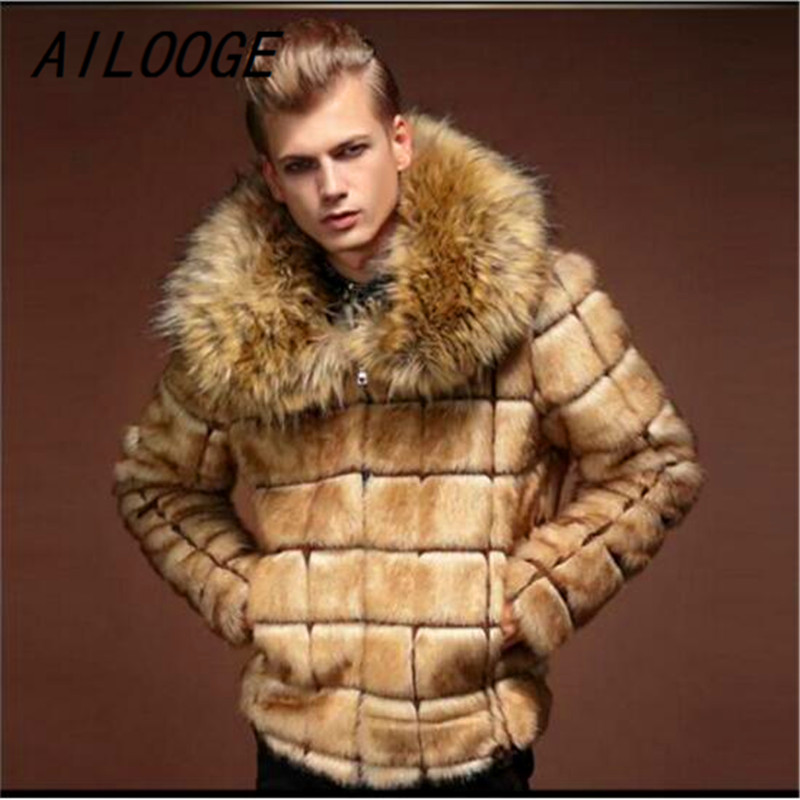 AILOOGE Arrival Men Winter Fur Coat Fashion Turn down Collar Faux Fur Full Pelt Fashion England European Style Cool Noble Jacket