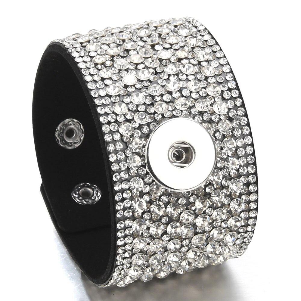 2018 Fashion Wide Rhinestone Bracelet Velvet Bracelet 18mm Snap Button Bracelets Fit 18mm Snap Buttons Charm Jewelry for Women