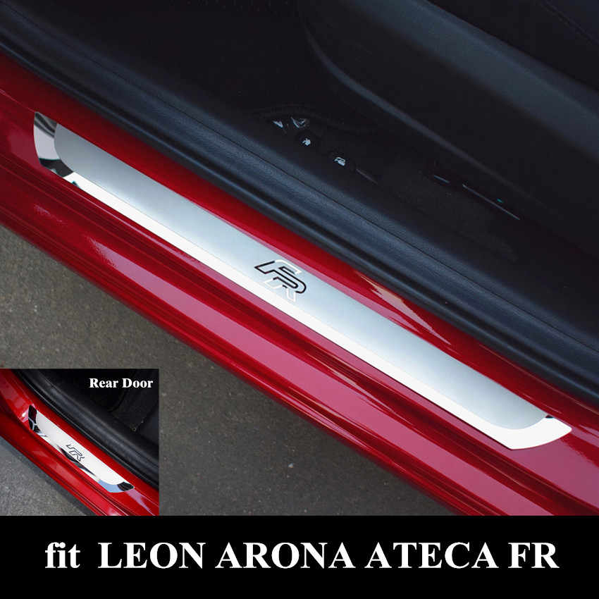 JCJFW Stainless Steel Car Door Sill Protector Kick Scuff Pedal Plates for SEAT LEON ARONA ATECA IBIZA FR 2018 2019 Auto Welcome Threshold Guard Sticker Trim Decorative Styling Accessories