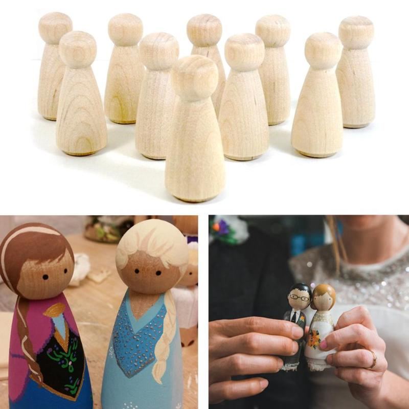 10pcs Children Craft Toy Wooden DIY Peg Dolls For Wedding Cake Decoration Kids Painted Toys