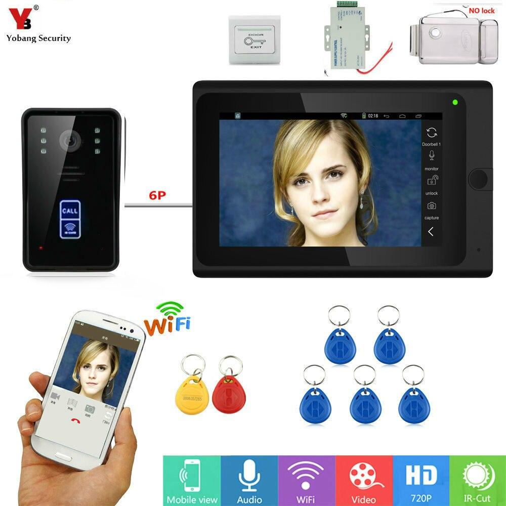 YobangSecurity RFID Unlock 7 Inch WIFI Wireless Video Monitoring Door Phone Doorbell Camera Intercom System Suite APP Control