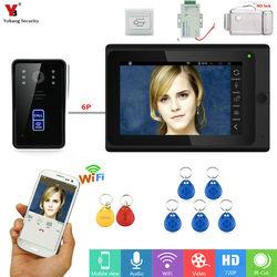 Yobangseguridad RFID desbloqueado 7 pulgadas WIFI inalámbrico Video monitoreo puerta teléfono timbre Cámara intercomunicador sistema Suite APP Control