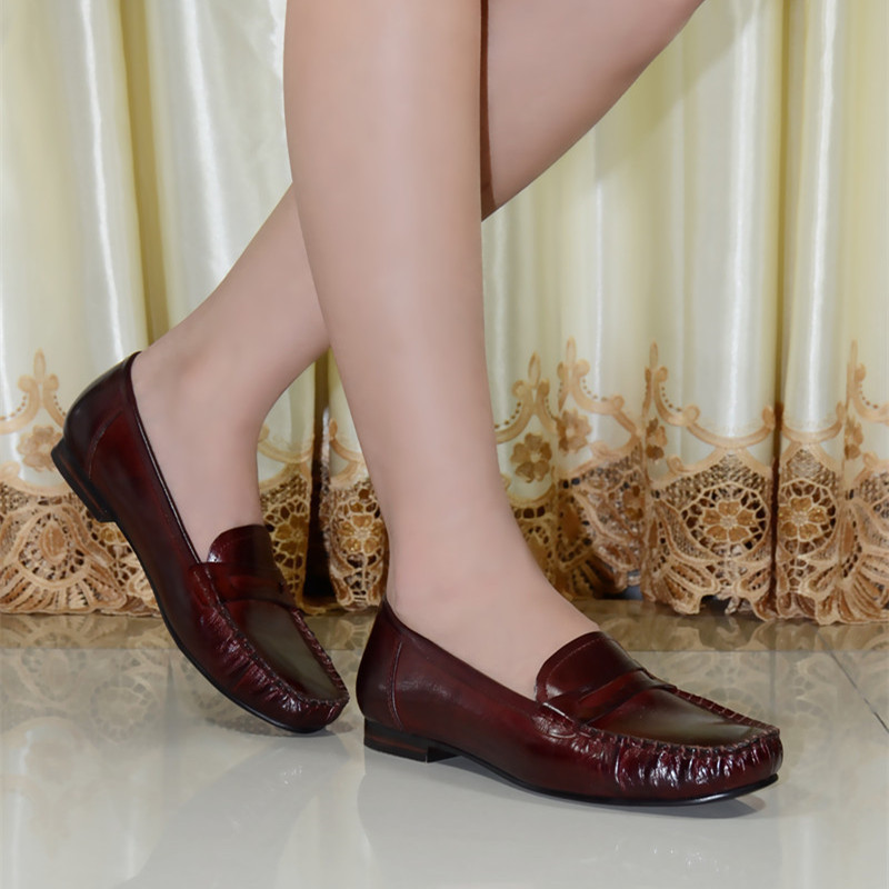 Aliexpress.com : Buy women's flat shoes genuine leather low heels ...