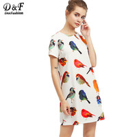 Dotfashion Wommen S Multicolor Cute Dresses Allover Bird Print Dresses 2017 Summer Round Neck Short Sleeve
