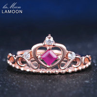 LAMOON Silver 925 Jewelry Heart Princess Crown Rings 0 2ct Ruby Natural Gemstone Rose Gold S925