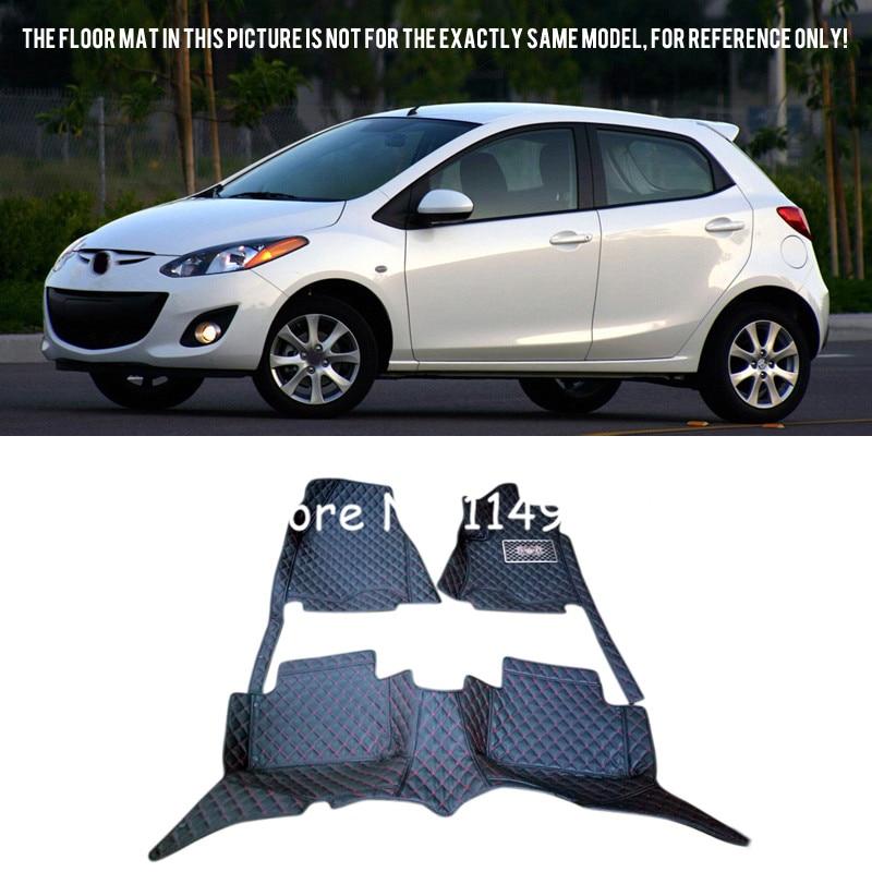 For Mazda 2 2009-2014 Car styling Interior Rugs Front & Rear Custom Car Floor Mats Full Set Carpets Liners