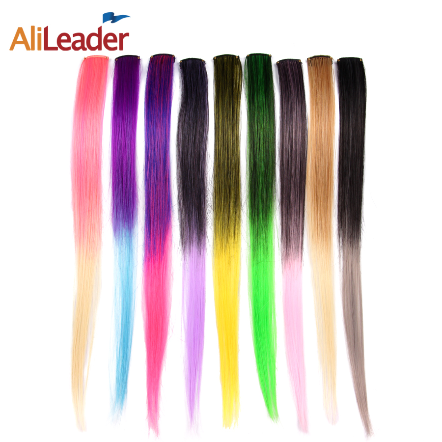 Alileader Clip In One Hairpiece Ombre 20 Colors 50Cm Long Straight Synthetic Hair Extension Clip On Pink Grey 613# Red Blue