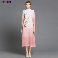 CHINESE STYLE WOMEN NOBLE DRESSES REAL SILK BROADCLOTH LONG BEACH DRESSES HALF SLEEVE STAND COLLAR PARTY
