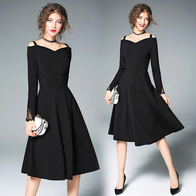 2017 Women Elegant Little Black Dress Polka Dot 50s 60s Retro Swing