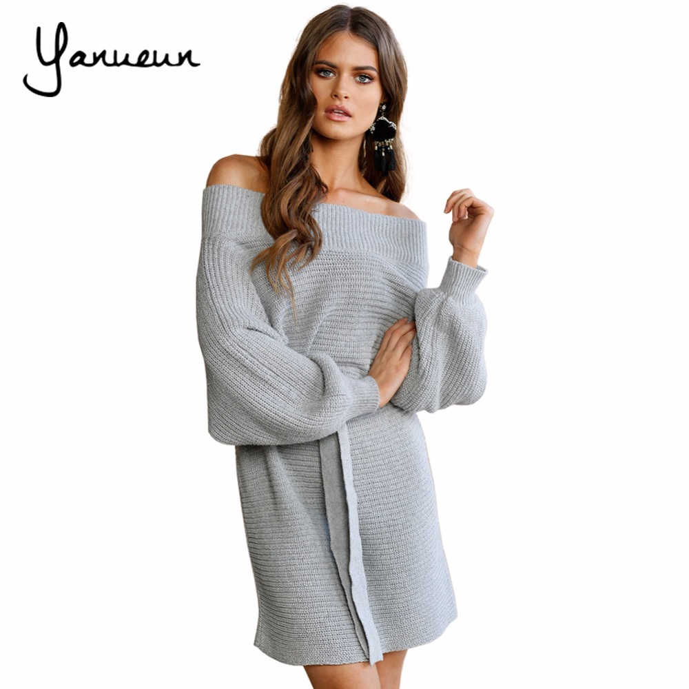 Yanueun 2017 Women Strapless Off Shoulder Dress Autumn Winter Slash Neck Sexy Women Batwing Sleeve Knitted Loose Sweater цена и фото
