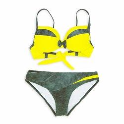 Łączenie Push Up Bikini kobiety stroje kąpielowe Patchwork brazylijskie Bikini zestaw Bowknot strój kąpielowy kobiet kostiumy kąpielowe Biquini plaża nosić 6