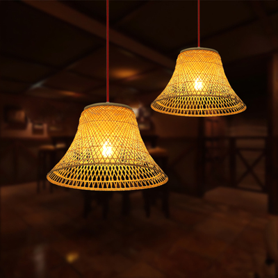 Modern Bamboo Pendant Light Shades America Country Cage Bird Nest Hanglamp Led Lamp Wood Suspension Luminaire