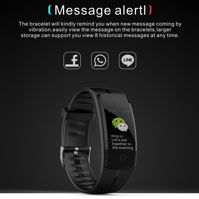 Smart Watches Men Sports Bracelet wristband OLED heart rate message reminder pedometer calorie bluetooth for IOS Android phone