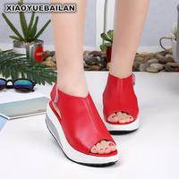 2018 New Summer Sandals Shoes Shook The Bottom Slope With Thick Sponge Waterproof Fish Mouth Size