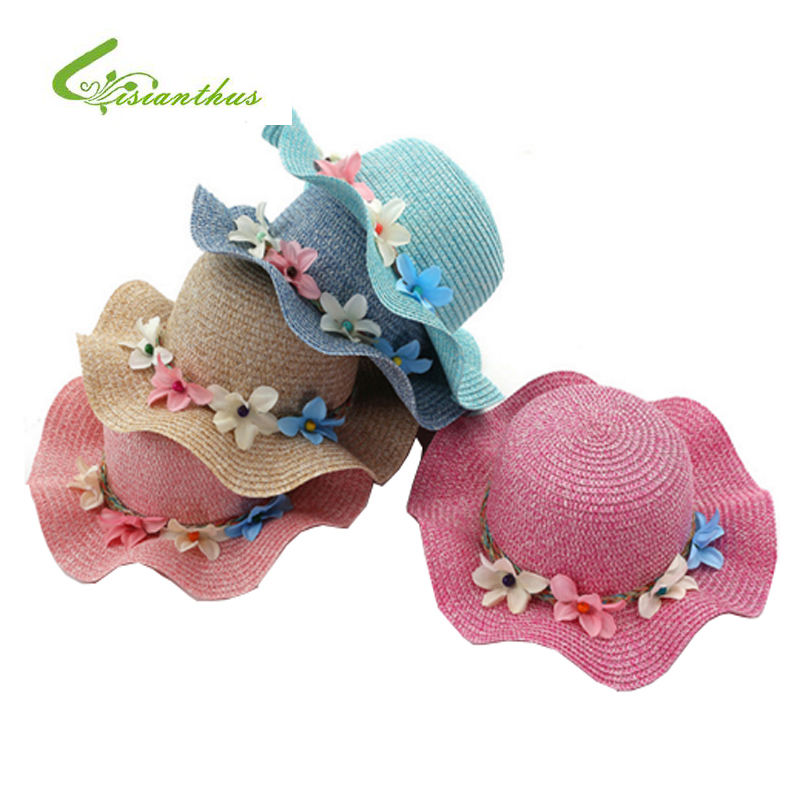 Fashion Girls Straw Hats Sommar Baby Flower Decoration Härlig Barn Sun Hat för Girls och Women Parent-Child Beach Caps
