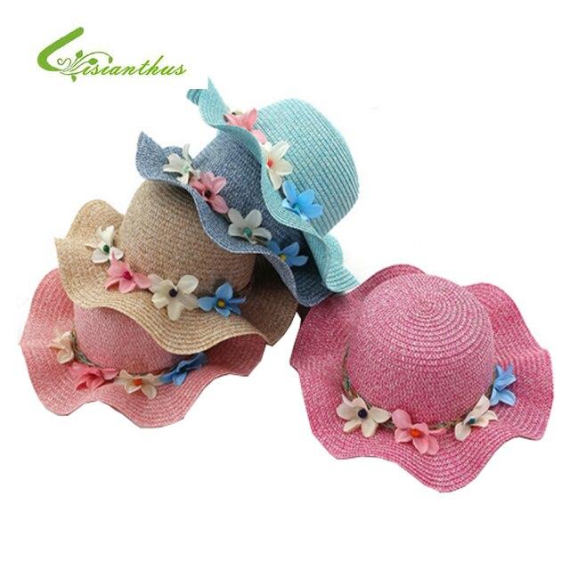 e5b5b15eca2f97 Fashion Girls Straw Hats Summer Baby Flower Decoration Lovely Children Sun  Hat for Girls and Women Parent-Child Beach Caps