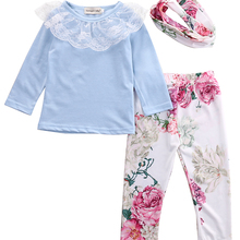 aee52731226e2 Pudcoco Kids Girls Clothes Children Clothing Long Sleeve Lace Tunic Top  Flower Leggings Headband 3pcs Baby