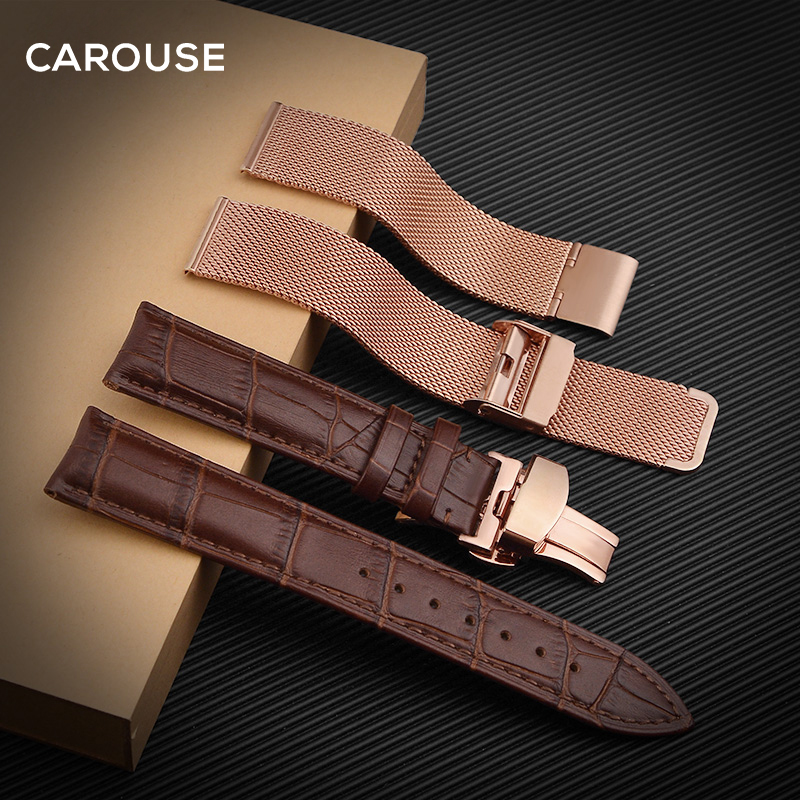 Carouse Milanese Watchband 16mm 18mm 20mm 22mm 23mm Leather Watch Band Combination Strap Bracelet Black