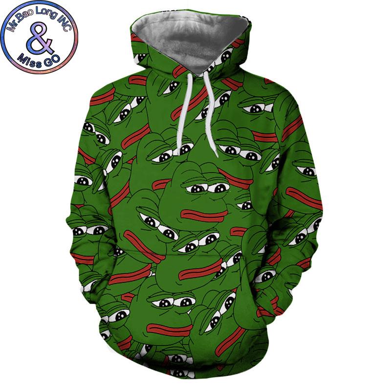 Pepe The Frog Print Hoodie Sweatshirt Men Women 3D Hoodies Sweatshirts Men Harajuku Hip Hop Hooded Pullover Sweat Homme Moletom