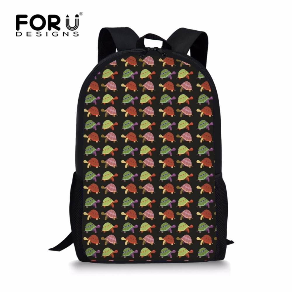 FORUDESIGNS Funny Floral Turtle Bookbag 16inch Junior Primary Kids School Bags Personali ...