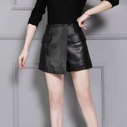2019 Haute Taille Femmes En Short Nouveau Moutons K26 Cuir wrqw4RE5WU
