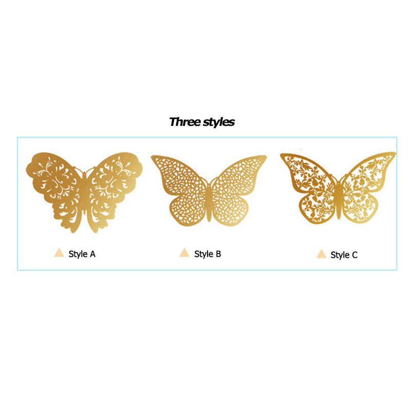 Pegatinas de pared de mariposas 3D huecas para decoración de boda, sala de estar, decoración de hogar para ventana, pegatinas de mariposas doradas y plateadas 12 unidades por juego