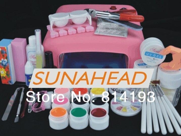 Pro 36 Вт UV GEL Розовый лампы и 12 Цвет УФ гель Nail Art Инструмент Инструментов Наборы
