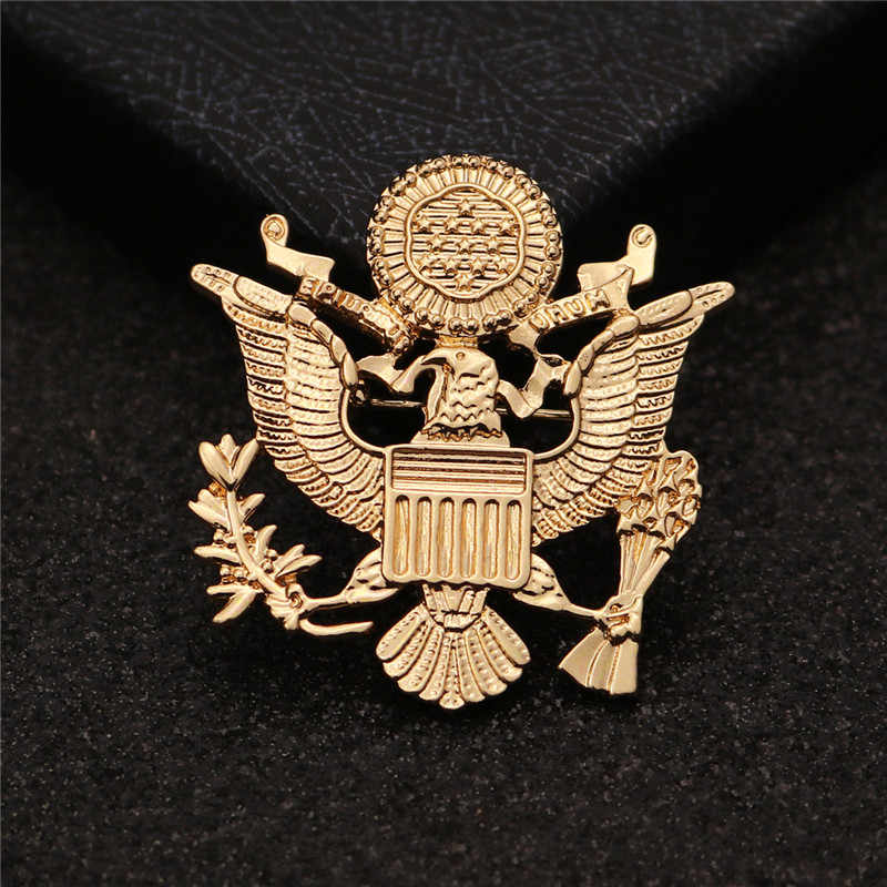 JEWELRYGIFT 35 x 38 mm Coat of arms of Russia US body metal Brooches USA  Eagle Decal Brooch Pins