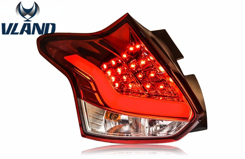 Free shipping vland factory High Quality for  Focus Hatchback Taillights LED Tail Lamps 2011 2012 2014Turn Singnal Car Rear lamp high quality chrome tail light cover for ford focus mk3 hatchback 12 13 free shipping