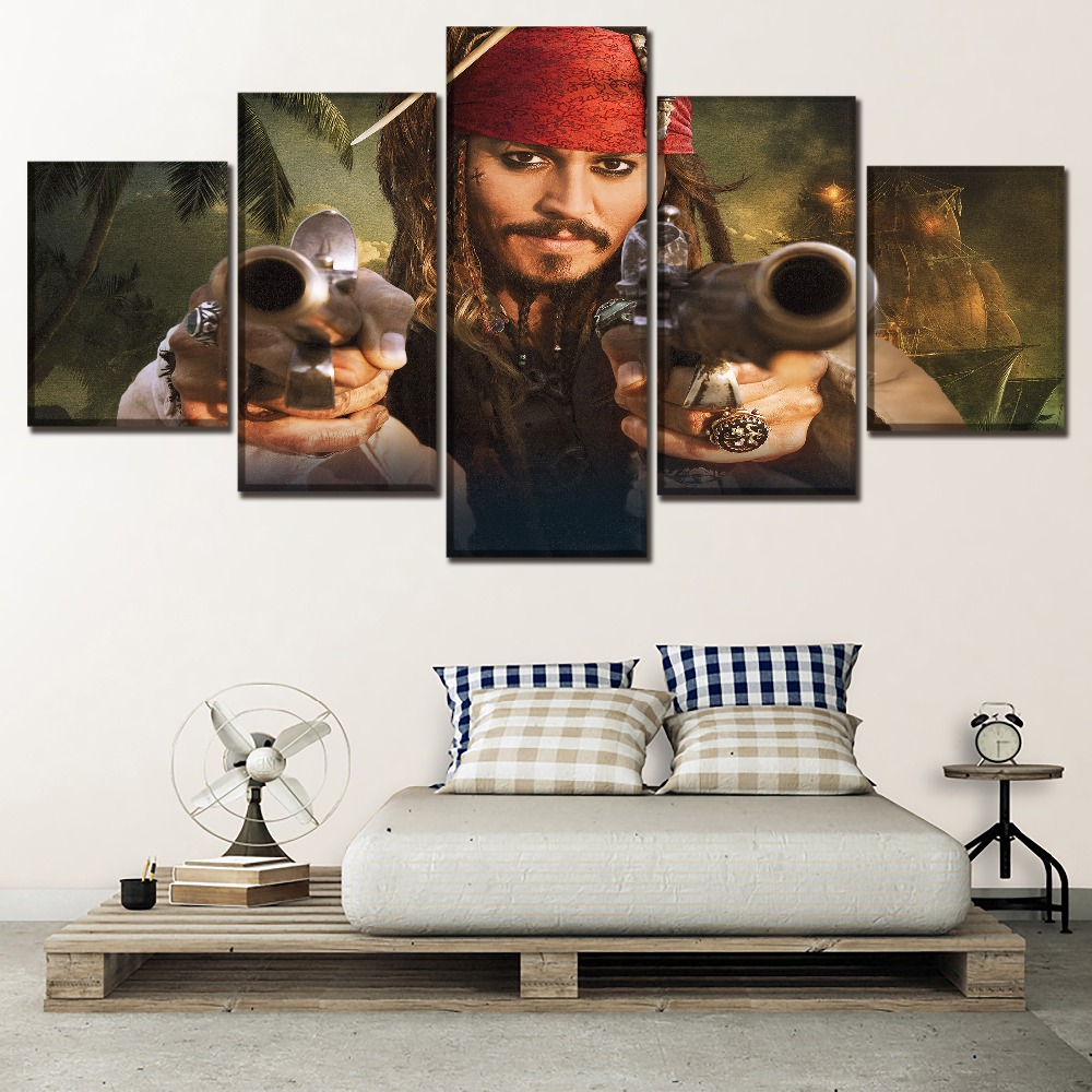 High Quality Canvas Printed Painting Movie Poster 5 Panel Pirates of the Caribbean On Stranger Tides Picture Modern Artwork