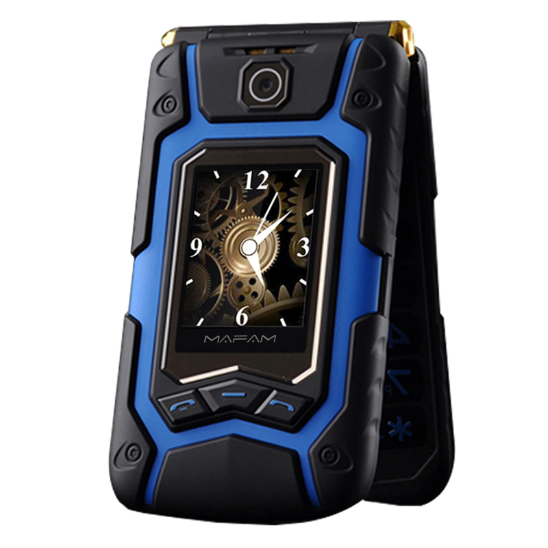 MAFAM tierra Flip teléfono Rover X9 doble pantalla a prueba de golpes a prueba Dual SIM Standby FM teléfono móvil para gente vieja superior P008