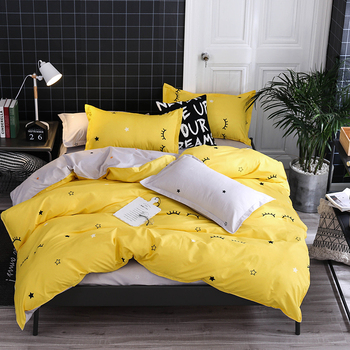 Yellow and Gray Color with eyelash and star printing queen bedding cover bed set girls boys bed clothes bed sets sheets king set