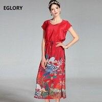 XXL Mode Nieuwe Hoge Kwaliteit Merk Chinese Jurk 2017 Zomer vrouwen Leuke Animal Print Korte Mouw Split Mid-Kalf Blauw Rood jurk