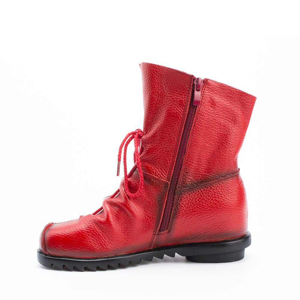 2019 Vintage Da Phong Cách Giày Bốt Nữ Phẳng Boot Da Bò Mềm Mại Nữ Khóa Kéo Mặt Trước Mắt Cá Chân Giày Zapatos Mujer